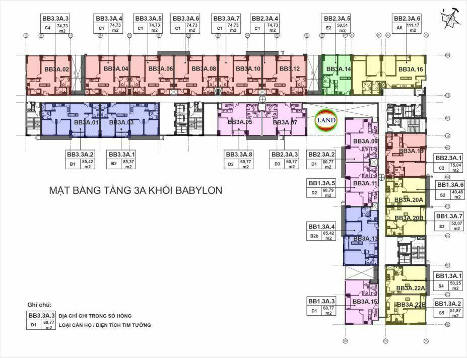 mặt bằng (layout) tầng 3a tháp Babylon - New City Thủ Thiêm