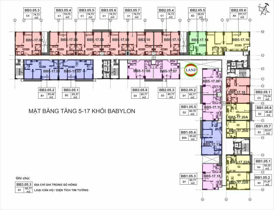 mặt bằng (layout) tầng 5-17 tháp Babylon - New City Thủ Thiêm