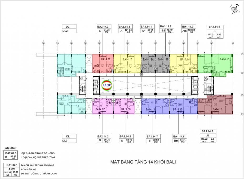 mặt bằng tầng 14 tháp Bali