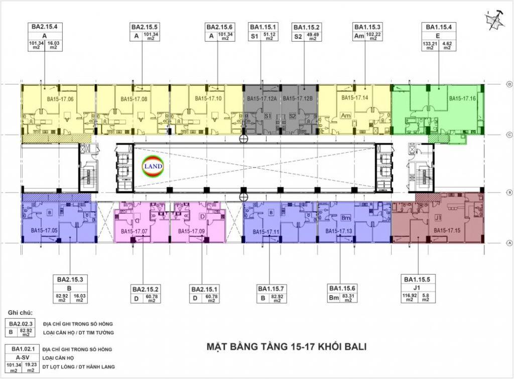 mặt bằngtầng 15,16,17 tháp Bali - chung cư New City Thủ Thiêm