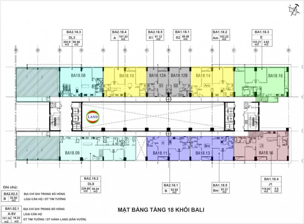 layout tầng 18 tháp Bali - New City Thuận Việt