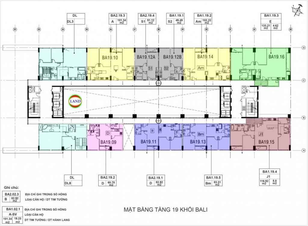 mặt bằng tầng 19 tháp Bali - New City Quận 2
