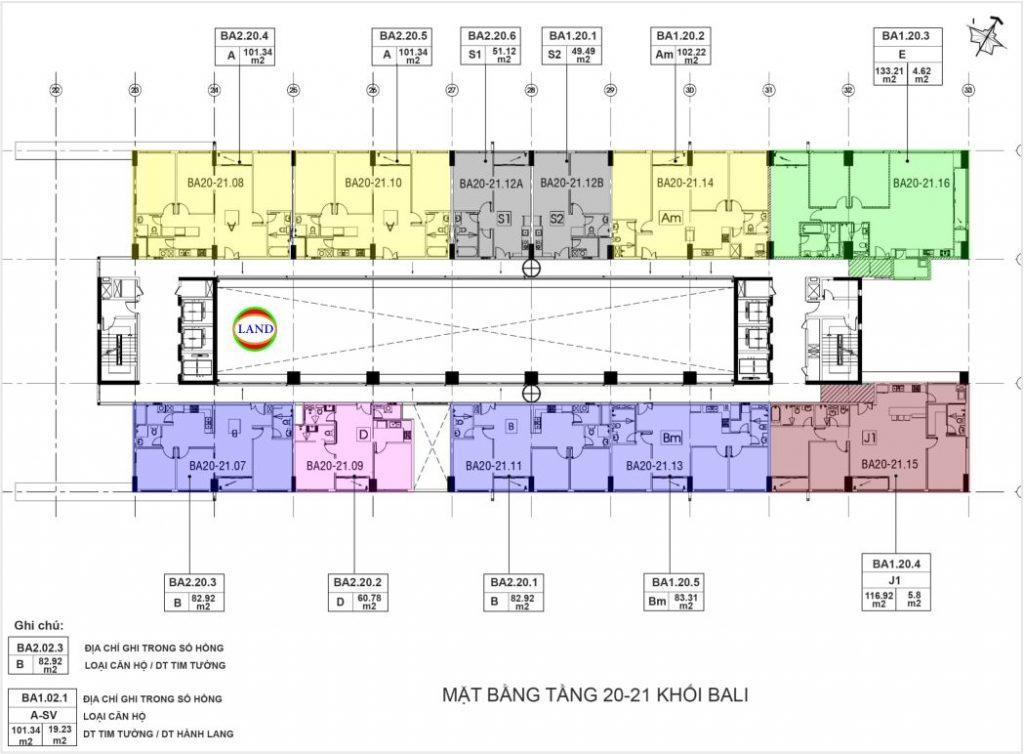 layout tầng 20,21 tháp Bali - New City Thủ Thiêm