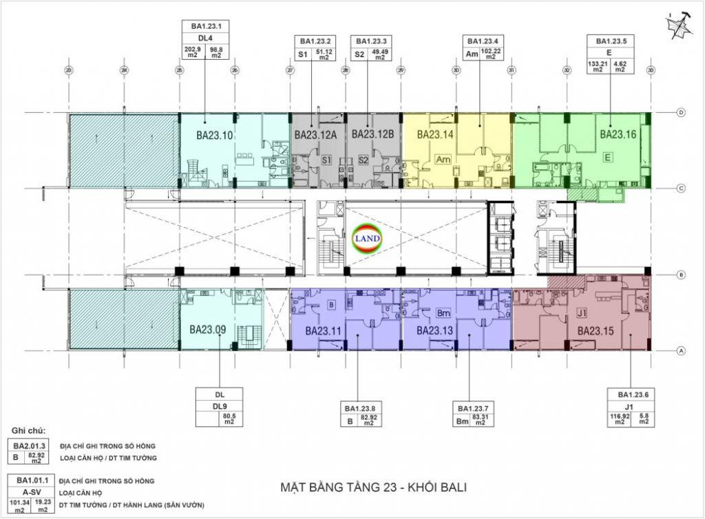 mặt bằng (layout) tầng 23 tháp Bali
