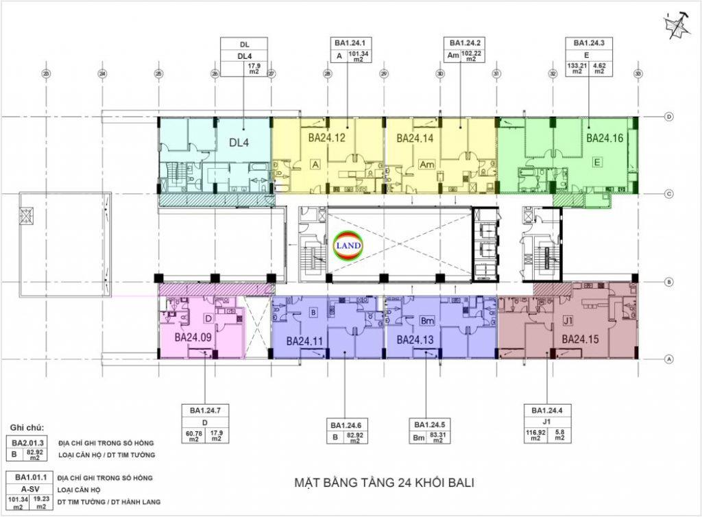 mặt bằng (layout) tầng 24 tháp Bali - căn hộ New City