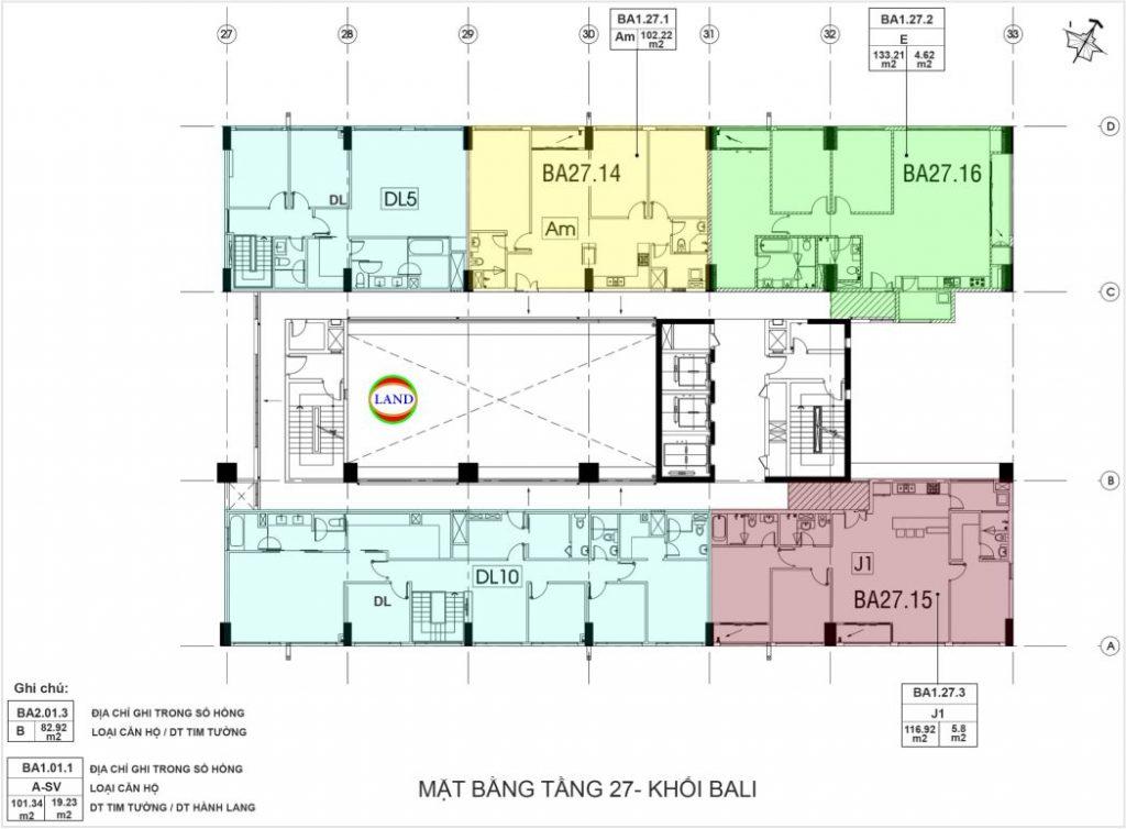 layout tầng 27 tháp Bali - New City Thủ Thiêm
