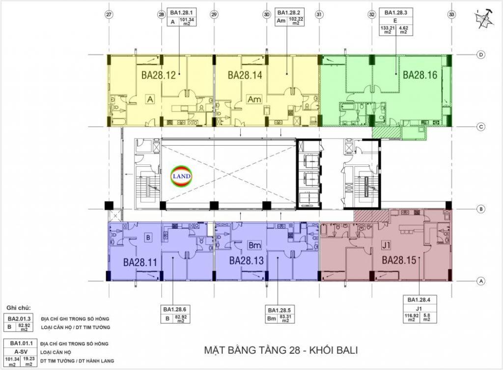 mặt bằng tầng 28 tháp Bali - New City Thuận Việt