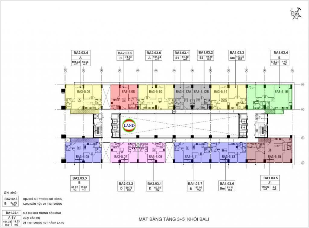 layout tầng 3-5 tháp Bali - New City Thủ Thiêm