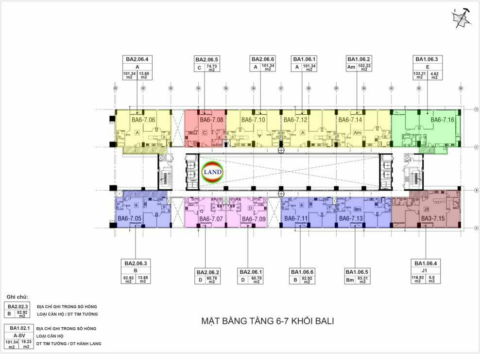 layout tầng 6,7 tháp Bali