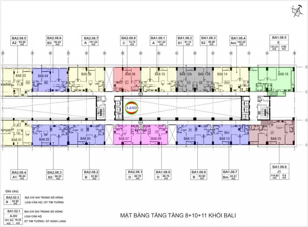 mặt bằng (layout) tầng 8,10,11 tháp Bali - New City Thủ Thiêm