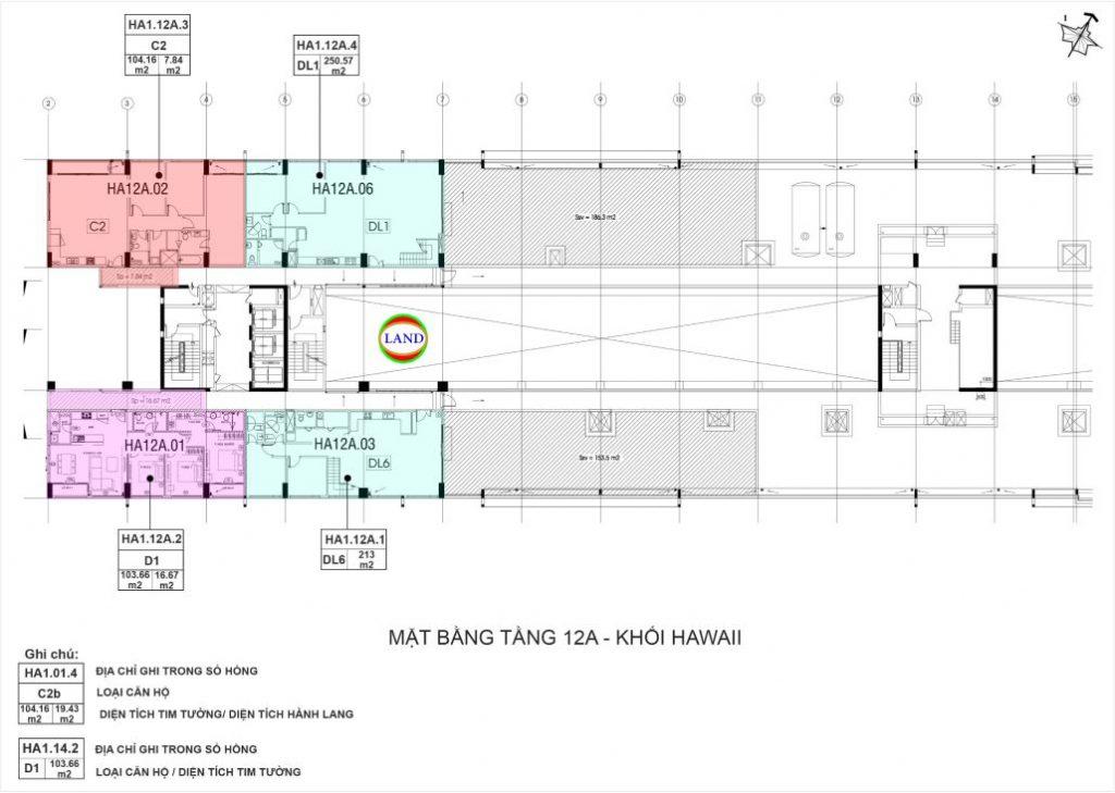 mặt bằng (layout) tầng 12a tháp Hawaii - New City Thủ Thiêm