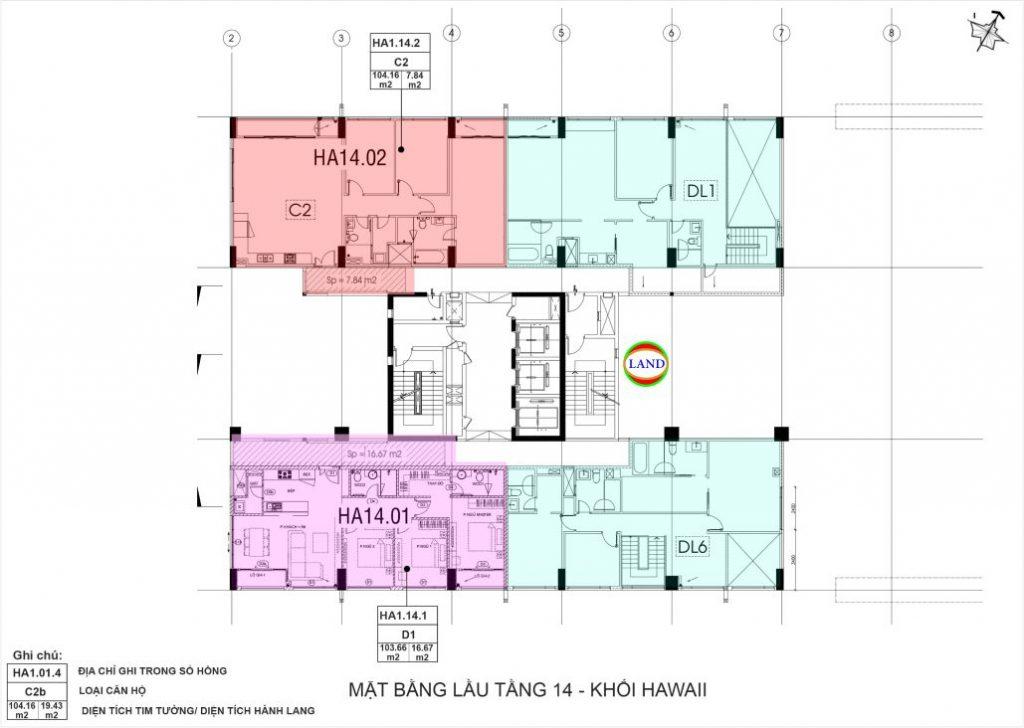 mặt bằng (layout) tầng 14 tháp Hawaii - New City Thủ Thiêm