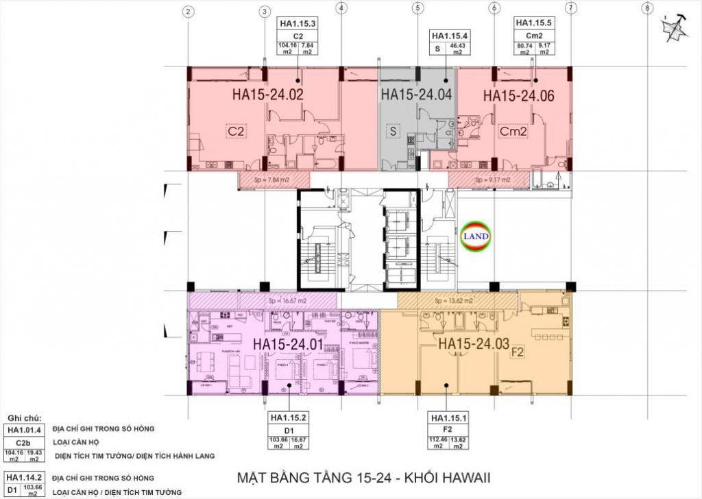 mặt bằng (layout) tầng 15-24 tháp Hawaii - New City Thủ Thiêm
