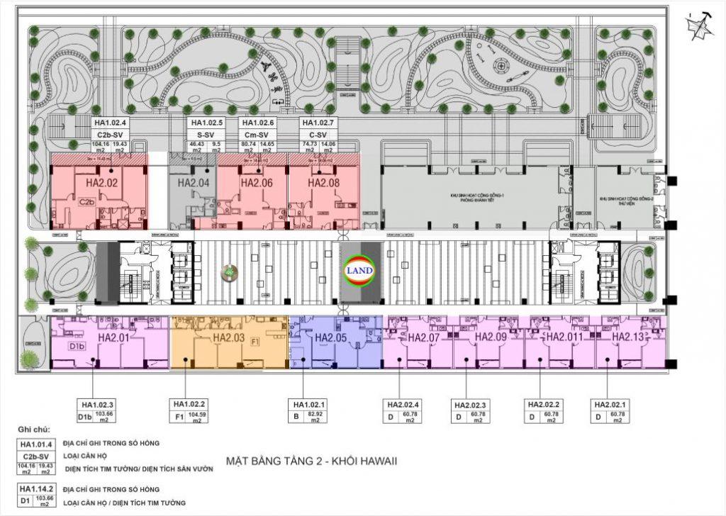 mặt bằng (layout) tầng 2 tháp Hawaii - New City Thủ Thiêm
