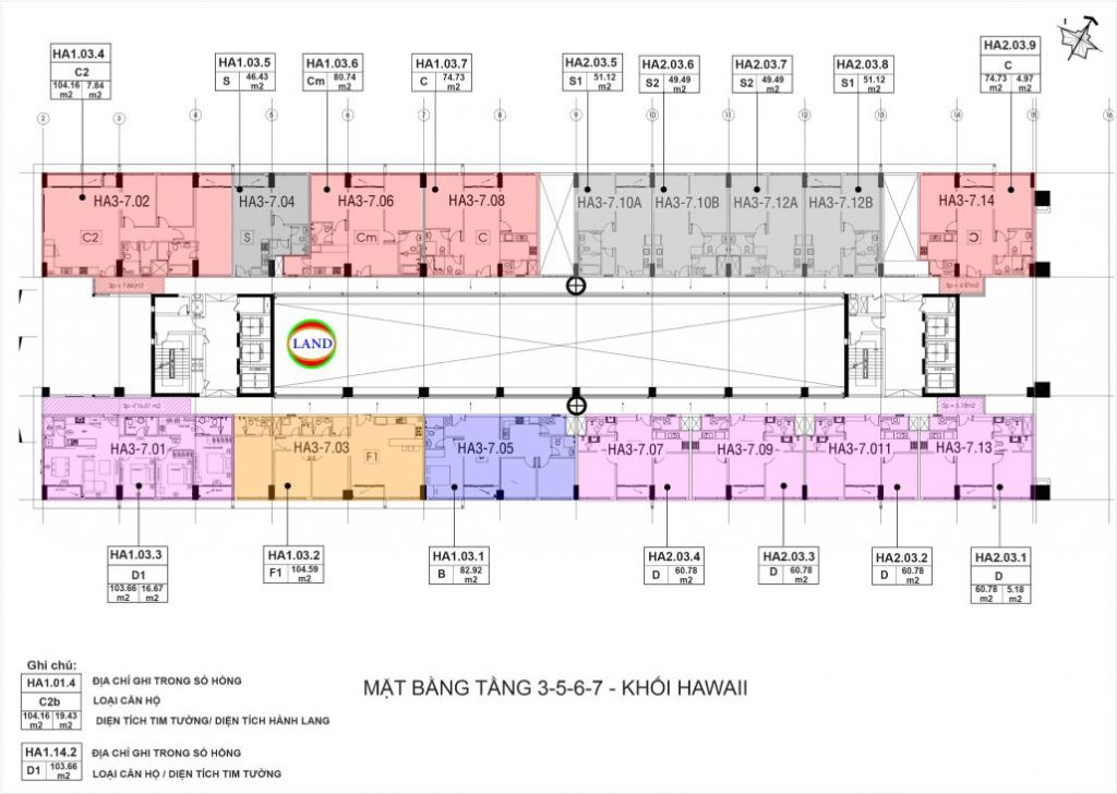 mặt bằng (layout) tầng 3-7 tháp Hawaii - New City Thủ Thiêm