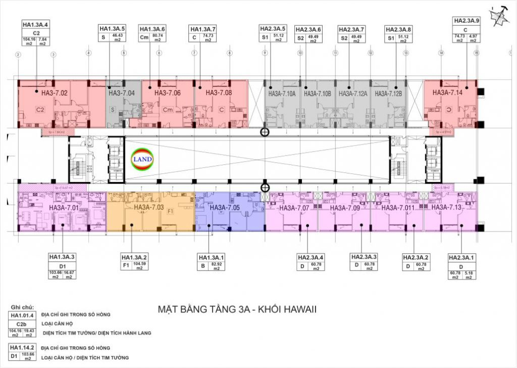 mặt bằng (layout) tầng 3a tháp Hawaii - New City Thủ Thiêm