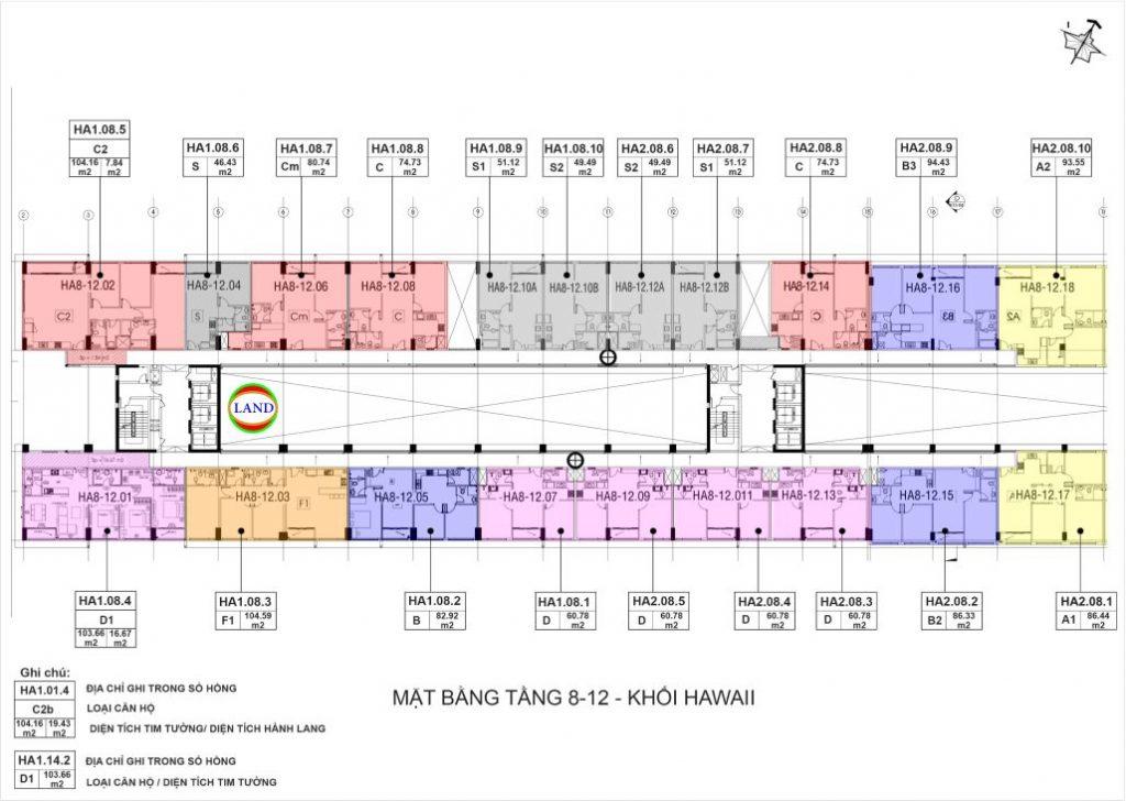 mặt bằng (layout) tầng 8-12 tháp Hawaii - New City Thủ Thiêm