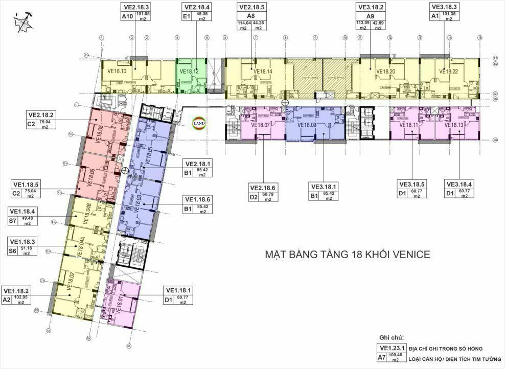 Mặt bằng (layout) tầng 18 tháp venice - New City Thủ Thiêm