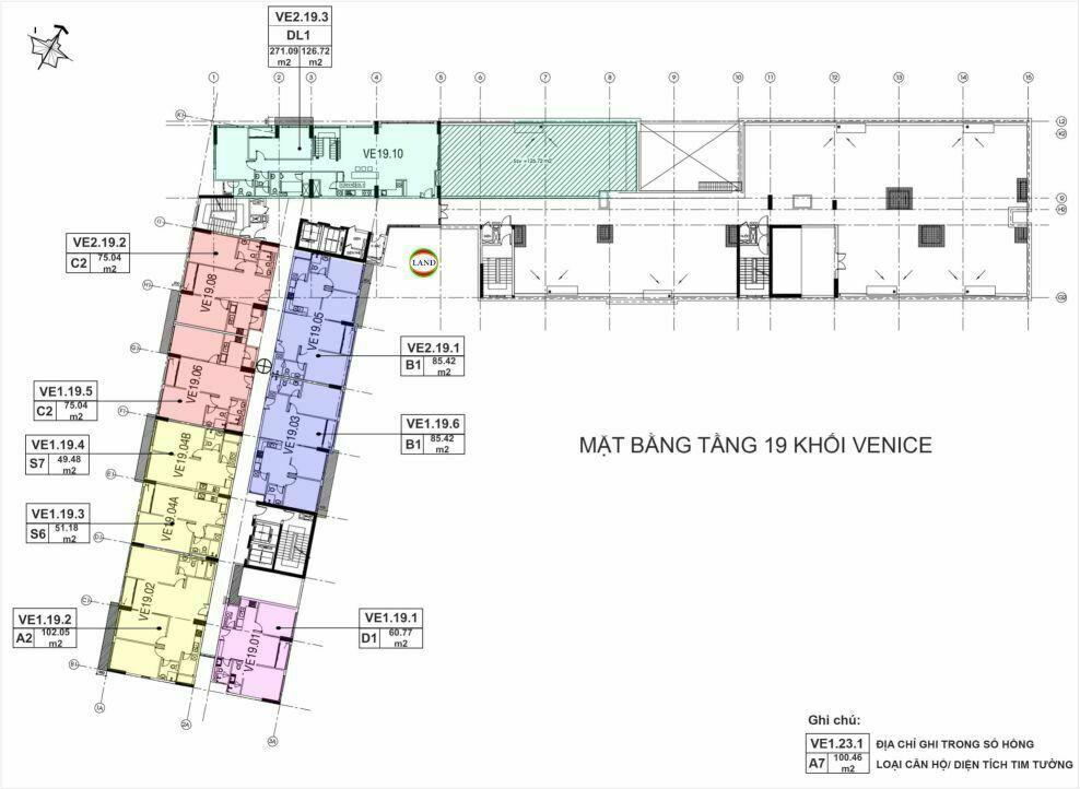 Mặt bằng(layout) tầng 19 tháp venice - New City Thủ Thiêm