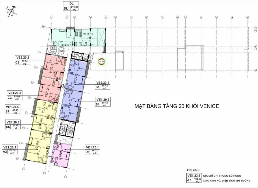 Mặt bằng(layout) tầng 20 tháp venice - New City Thủ Thiêm