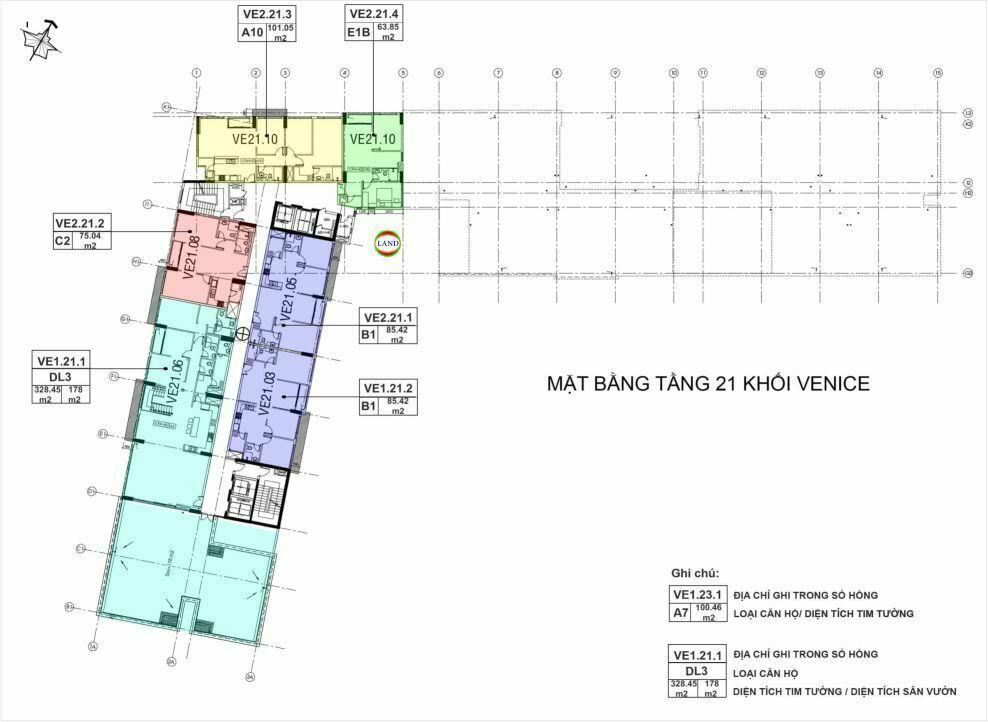 Mặt bằng(layout) tầng 21 tháp venice - New City Thủ Thiêm