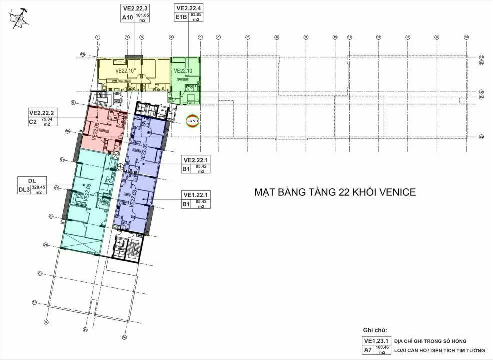 Mặt bằng(layout) tầng 22 tháp venice - New City Thủ Thiêm