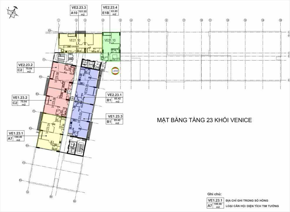 Mặt bằng(layout) tầng 23 tháp venice - New City Thủ Thiêm