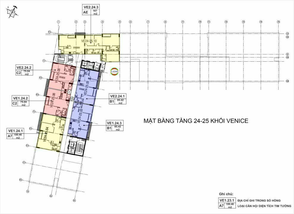 Mặt bằng(layout) tầng 24 - tầng 25 tháp venice - New City Thủ Thiêm