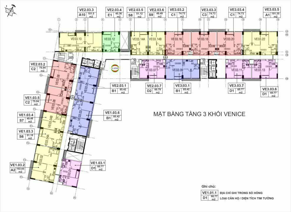 Mặt bằng(layout) tầng 3 tháp venice - New City Thủ Thiêm