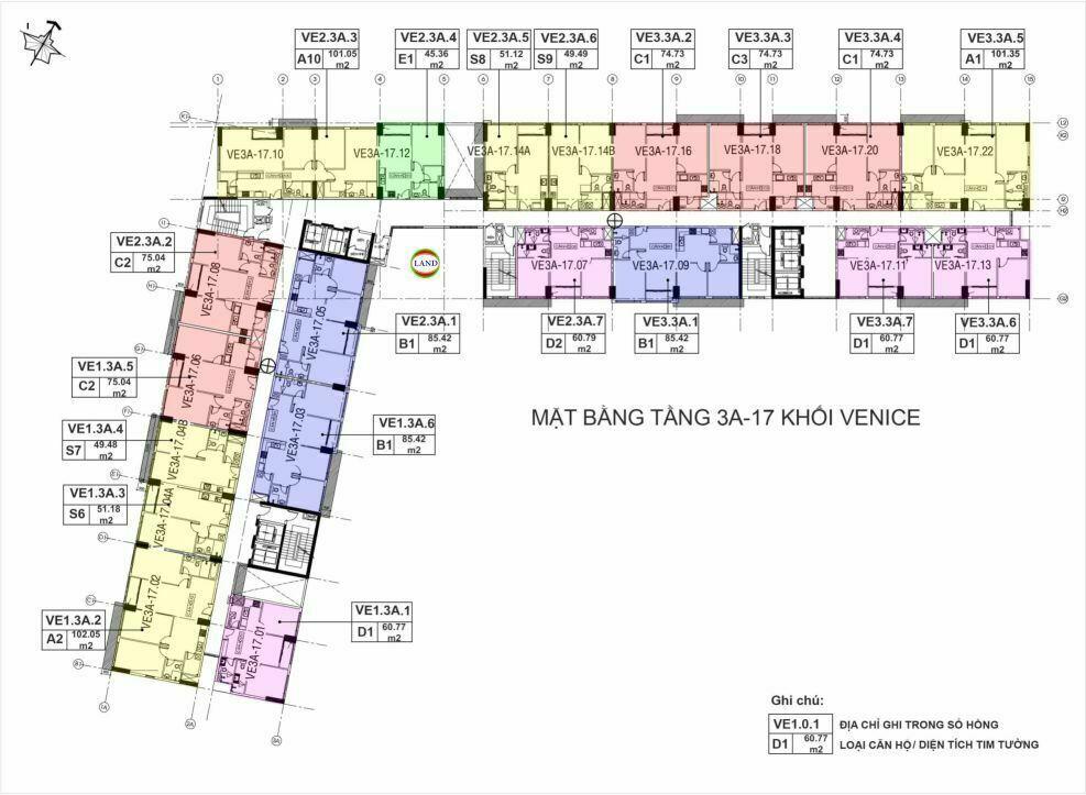 Mặt bằng(layout) tầng 3a- tầng 17 tháp venice - New City Thủ Thiêm