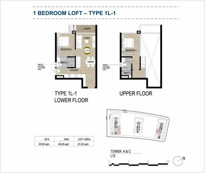 Mặt bằng (layout) căn hộ lofthouse - 1PN - mẫu 1 - The Galleria Residence - The Metropole Thủ Thiêm 1