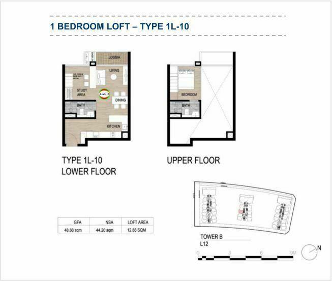 Mặt bằng (layout) căn hộ lofthouse - 1PN - mẫu 10 - The Galleria Residence - The Metropole Thủ Thiêm