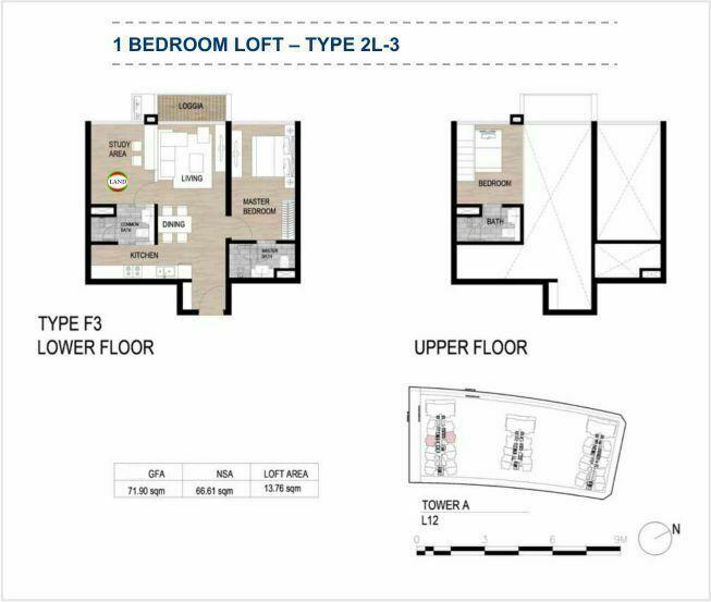 Mặt bằng (layout) căn hộ lofthouse - 1PN - mẫu 11 - The Galleria Residence - The Metropole Thủ Thiêm