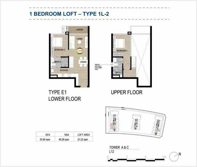 Mặt bằng (layout) căn hộ lofthouse - 1PN - mẫu 2 - The Galleria Residence - The Metropole Thủ Thiêm