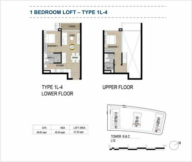 Mặt bằng (layout) căn hộ lofthouse - 1PN - mẫu 4 - The Galleria Residence - The Metropole Thủ Thiêm