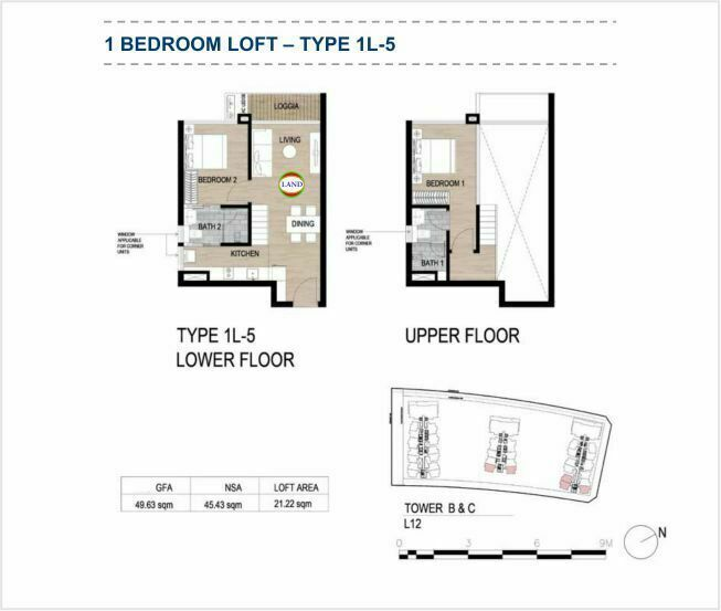 Mặt bằng (layout) căn hộ lofthouse - 1PN - mẫu 5 - The Galleria Residence - The Metropole Thủ Thiêm
