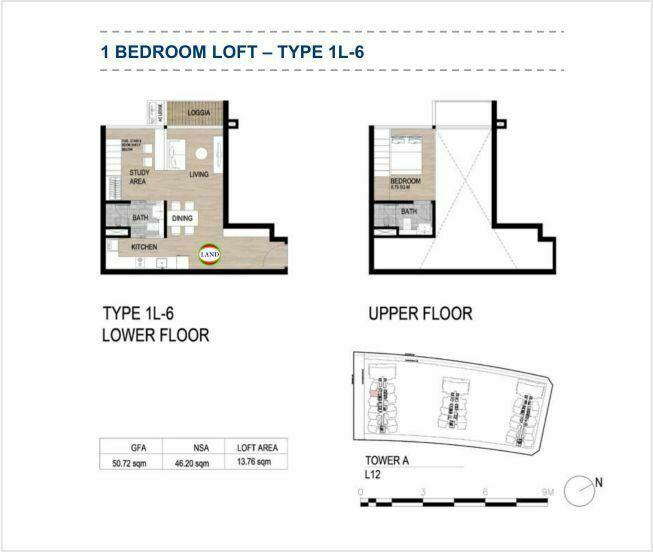 Mặt bằng (layout) căn hộ lofthouse - 1PN - mẫu 6 - The Galleria Residence - The Metropole Thủ Thiêm