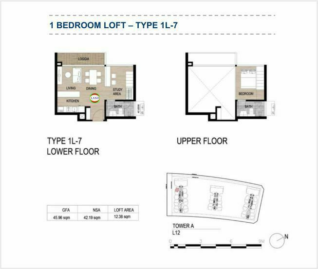 Mặt bằng (layout) căn hộ lofthouse - 1PN - mẫu 7 - The Galleria Residence - The Metropole Thủ Thiêm