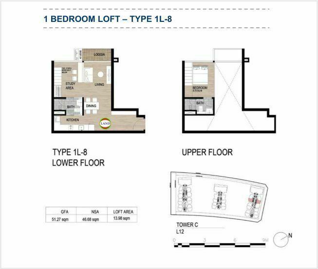 Mặt bằng (layout) căn hộ lofthouse - 1PN - mẫu 8 - The Galleria Residence - The Metropole Thủ Thiêm