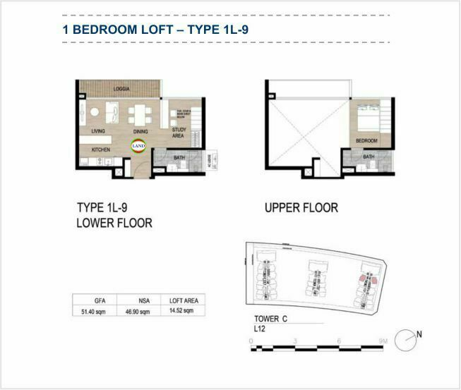 Mặt bằng (layout) căn hộ lofthouse - 1PN - mẫu 9 - The Galleria Residence - The Metropole Thủ Thiêm