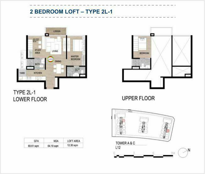Mặt bằng (layout) căn hộ lofthouse - 2PN - mẫu 1 - The Galleria Residence - The Metropole Thủ Thiêm