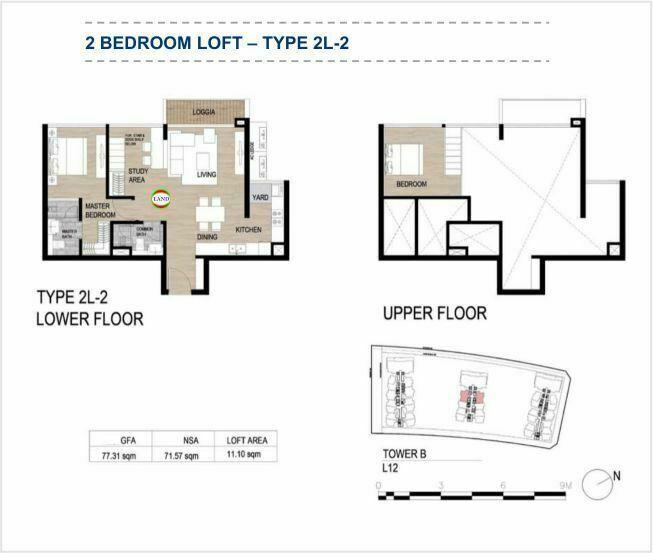 Mặt bằng (layout) căn hộ lofthouse - 2PN - mẫu 2 - The Galleria Residence - The Metropole Thủ Thiêm