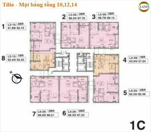 Mặt bằng tháp 1C tầng 10,12,14 Tilia Residence - MU7 Empire city