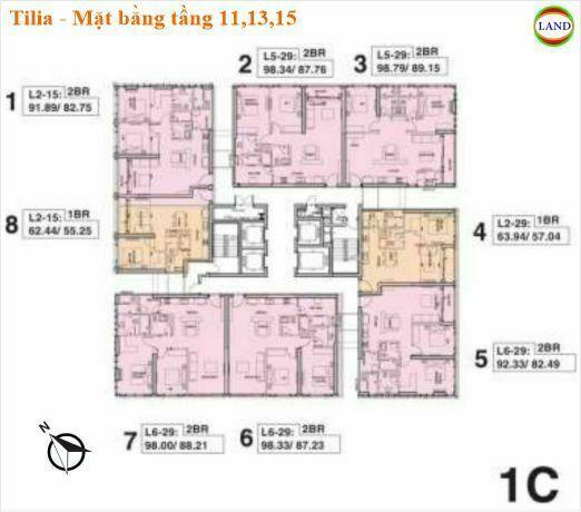 Mặt bằng tháp 1C tầng 11,13,15 Tilia Residence - MU7 Empire city