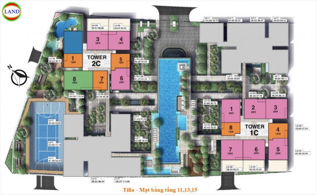 Mặt bằng tầng 11,13,15 Tilia Residence - MU7 Empire city