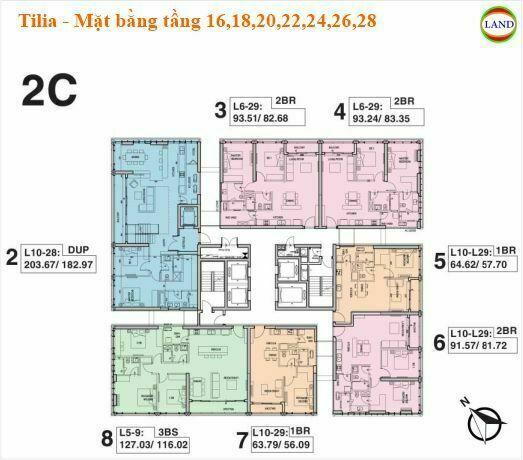 Mặt bằng tháp 2C tầng 16,18,20,22,24,26,28 Tilia Residence - MU7 Empire city