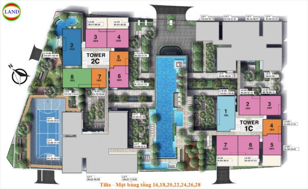 Mặt bằng tầng 16,18,20,22,24,26,28 Tilia Residence - MU7 Empire city