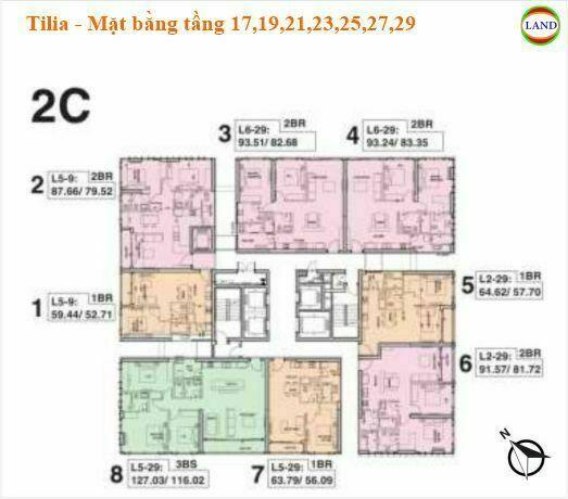 Mặt tháp 2C bằng tầng 17,19,21,23,25,27,29 Tilia Residence - MU7 Empire city