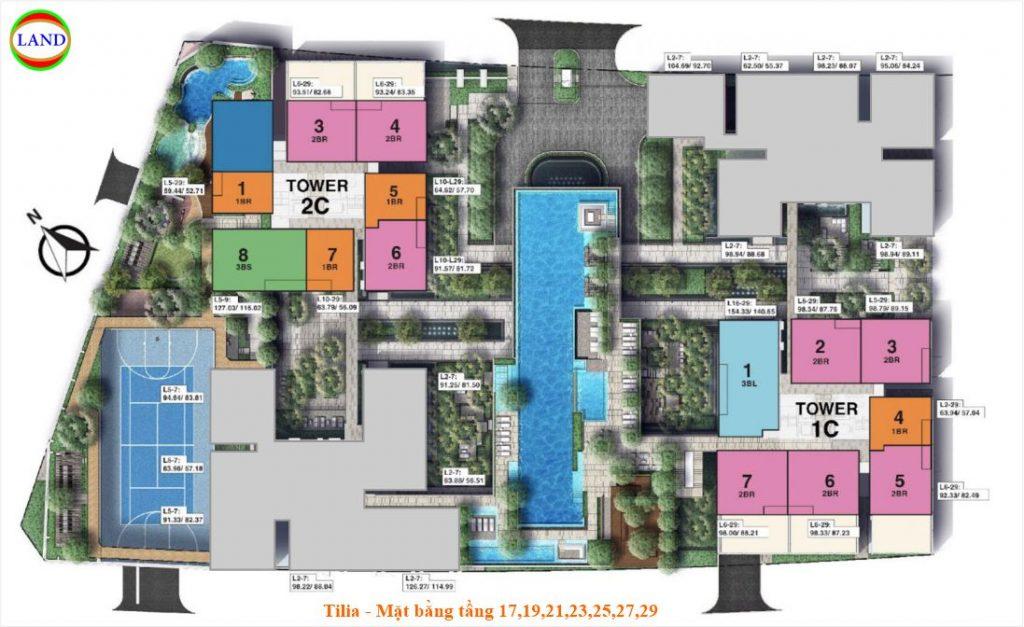 Mặt bằng tầng 17,19,21,23,25,27,29 Tilia Residence - MU7 Empire city