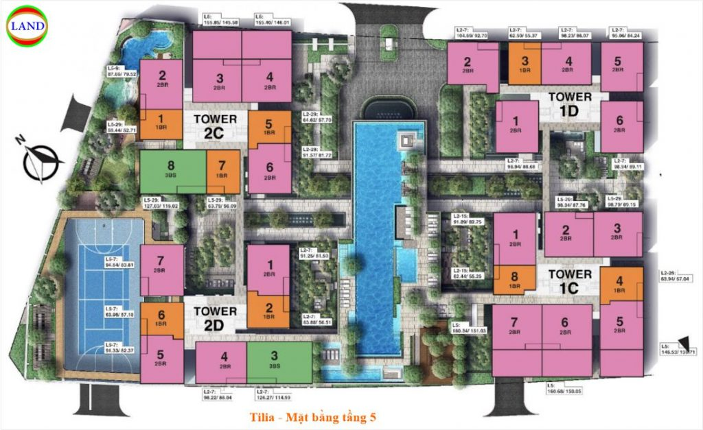 Mặt bằng tầng 5 Tilia Residence - MU7 Empire city